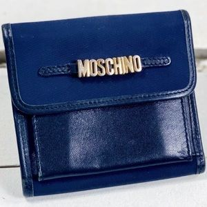 Moschino Navy Canvas & Black Leather Wallet